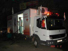 Un camion-ambulance avant le bombardement israëlien...